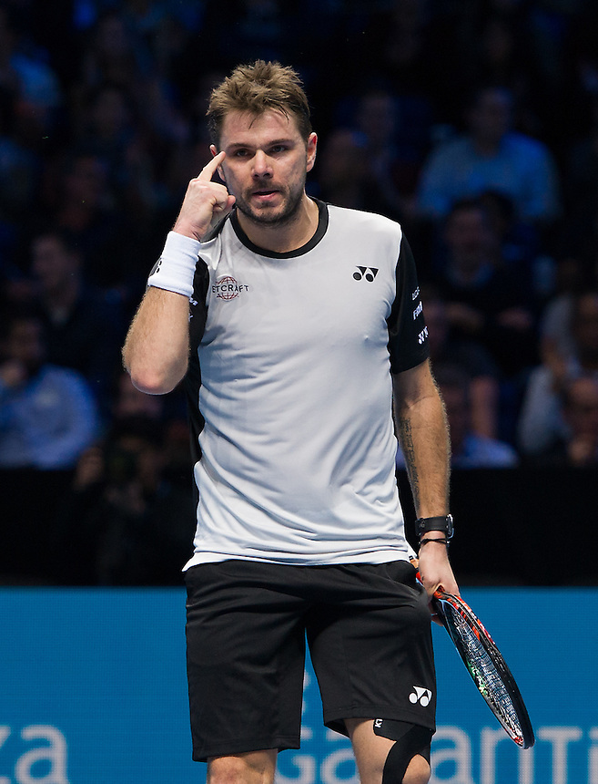 Stan Wawrinka of Switzerland in action against Marin Cilic of Croatia in their Group John McEnroe match today<br /> <br /> Photographer Ashley Western/CameraSport<br /> <br /> International Tennis - Barclays ATP World Tour Finals - Day 4 - Wednesday 16th November 2016 - O2 Arena - London<br /> <br /> World Copyright &copy; 2016 CameraSport. All rights reserved. 43 Linden Ave. Countesthorpe. Leicester. England. LE8 5PG - Tel: +44 (0) 116 277 4147 - admin@camerasport.com - www.camerasport.com