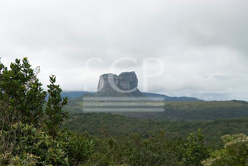 Chapada Diamantina, Bahia State, Brazil. Camel Rock (Morro do Camelo) in the mist.