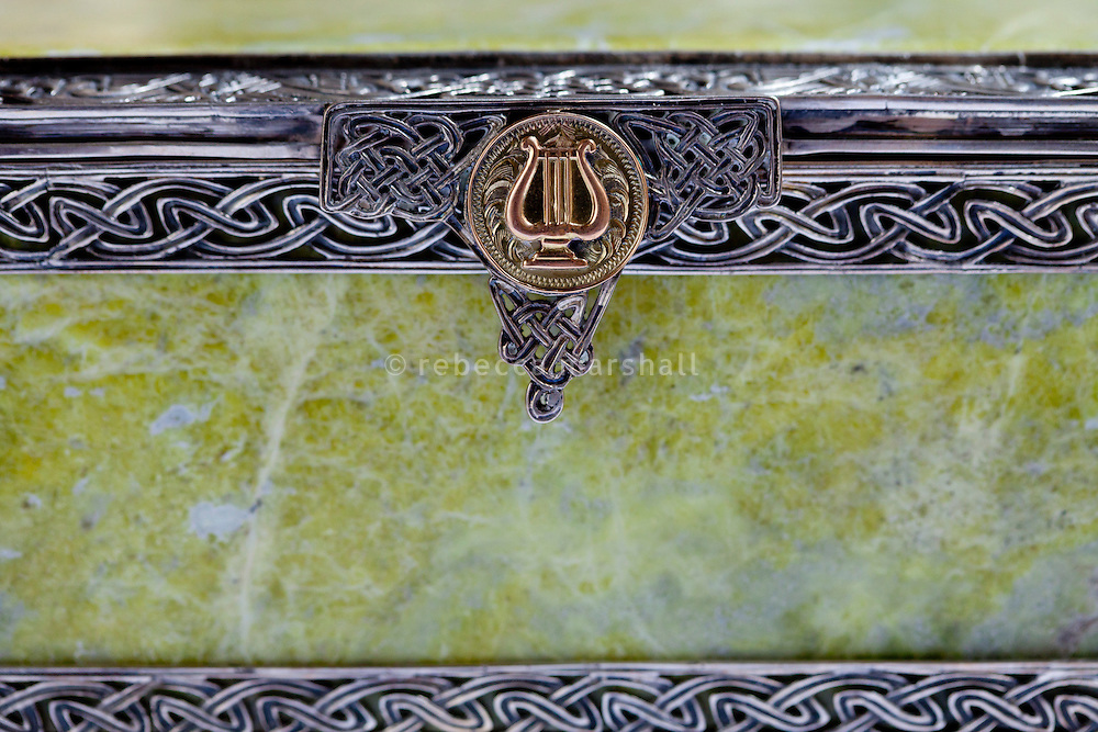 Detail of a casket given as a gift to Grace Kelly from the people of Westport, Ireland during her visit there in 1961, part of the collection at the Princess Grace Irish Library, Monaco, 6 July 2013. The casing was cut from Irish silver, and the side panels from a single block of Connemara marble.