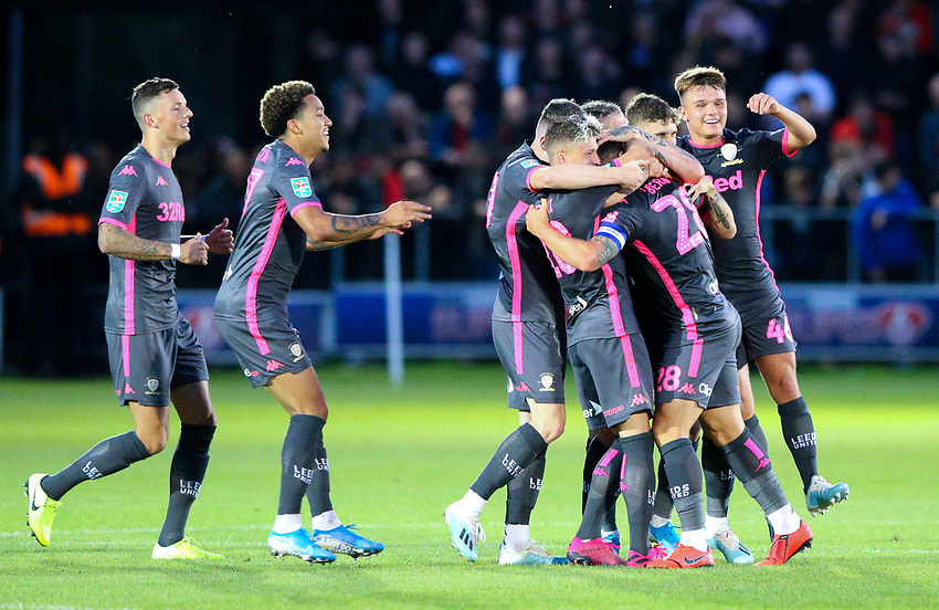 Leeds United's Gaetano Berardi celebrates with teammates after scoring his side's second goal<br /> <br /> Photographer Alex Dodd/CameraSport<br /> <br /> The Carabao Cup First Round - Salford City v Leeds United - Tuesday 13th August 2019 - Moor Lane - Salford<br />  <br /> World Copyright © 2019 CameraSport. All rights reserved. 43 Linden Ave. Countesthorpe. Leicester. England. LE8 5PG - Tel: +44 (0) 116 277 4147 - admin@camerasport.com - www.camerasport.com