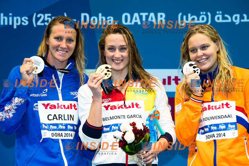 BELMONTE GARCIA Mireya ESP Gold Medal CR<br /> CARLIN Jaz GBR Silver Medal<br /> VAN ROUWENDAAL Sharon NED Bronze Medal<br /> Women's 800m Freestyle Final<br /> Doha Qatar 04-12-2014 Hamad Aquatic Centre, 12th FINA World Swimming Championships (25m). Nuoto Campionati mondiali di nuoto in vasca corta.<br /> Photo Giorgio Scala/Deepbluemedia/Insidefoto