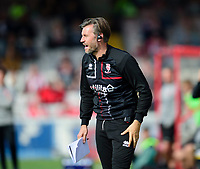 Lincoln City's assistant manager Nicky Cowley shouts instructions to his team from the technical area<br /> <br /> Photographer Andrew Vaughan/CameraSport<br /> <br /> The EFL Sky Bet League One - Lincoln City v Fleetwood Town - Saturday 31st August 2019 - Sincil Bank - Lincoln<br /> <br /> World Copyright © 2019 CameraSport. All rights reserved. 43 Linden Ave. Countesthorpe. Leicester. England. LE8 5PG - Tel: +44 (0) 116 277 4147 - admin@camerasport.com - www.camerasport.com