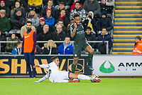 Kyle Naughton of Swansea City tackles Raheem Sterling of Manchester City during the EPL - Premier League match between Swansea City and Manchester City at the Liberty Stadium, Swansea, Wales on 13 December 2017. Photo by Mark  Hawkins / PRiME Media Images.