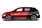 Car Driver side profile view of a 2016 Peugeot 308 GTI 5 Door Hatchback Side View