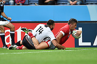 DTH Van Der Merwe of Canada dives for the try-line. Rugby World Cup Pool D match between Canada and Romania on October 6, 2015 at Leicester City Stadium in Leicester, England. Photo by: Patrick Khachfe / Onside Images