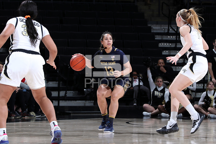 WINSTON-SALEM, NC - FEBRUARY 06: Marta Sniezek #13 of the University of Notre Dame dribbles the ball during a game between Notre Dame and Wake Forest at Lawrence Joel Veterans Memorial Coliseum on February 06, 2020 in Winston-Salem, North Carolina.