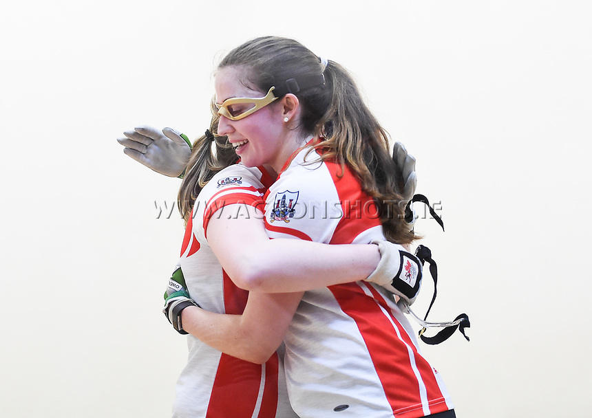 07/04/2018; GAA Handball O&rsquo;Neills 40x20 Championship Ladies Senior Final - Cork (Catriona Casey/Aisling O&rsquo;Keeffe) v Roscommon (Fiona Tully/Leona Doolin); Kingscourt, Co Cavan;<br /> Catriona Casey and Aisling O&rsquo;Keeffe celebrate after winning.<br /> Photo Credit: actionshots.ie/Tommy Grealy