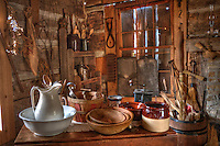Interior of the Knox-Metzker log cabin. The cabin sits on the ground of McVay Elementary School in Westerville. The annual Ned Mosher Apple Butter Festival held at the cabin every year helps raise money to maintain the cabin as a teaching tool for students at the school.