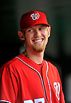 24 September 2011: Washington Nationals pitcher Stephen Strasburg smiles in the dugout during a game against the Atlanta Braves at Nationals Park in Washington, DC. The Nationals defeated the Braves 4-1 to even up their 3-game series. Mandatory Credit: Ed Wolfstein Photo
