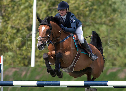 HICKSTEAD ENGLAND. 31-07-2010. Nicole Pavitt riding Maestro De Rend Peine, competing in The Old Lodge Queen Elizabeth II Cup, during The Longines Royal International Horse Show, held at The All England Jumping Course, Hickstead.