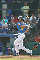 Myrtle Beach Pelicans infielder Chesny Young (3) at bat during a game against the Potomac Nationals at Ticketreturn.com Field at Pelicans Ballpark on May 22, 2015 in Myrtle Beach, South Carolina.  Myrtle Beach defeated Potomac 8-4. (Robert Gurganus/Four Seam Images)