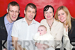 Baby Richard Sean Kelly, who was christened on Saturday last and celebrated .at the Thatch Restaurant in Lisselton. Pictured with parents Michael and .Amanda Kelly, Listowel, and godparents Denis Kelly and Julie Simons, London..   Copyright Kerry's Eye 2008