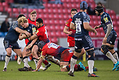24th March 2018, AJ Bell Stadium, Salford, England; Aviva Premiership rugby, Sale Sharks versus Worcester Warriors; Ross Harrison of Sale Sharks is tackled by Will Spencer of Worcester Warriors