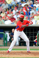 Philadelphia Phillies outfielder Domonic Brown #9 during a Spring Training game against the Boston Red Sox at Bright House Field on March 24, 2013 in Clearwater, Florida.  Boston defeated Philadelphia 7-6.  (Mike Janes/Four Seam Images)