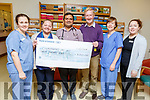 Tom Randles from Kilgarvan, presenting a cheque to the Chemo Day Unit on Friday, the proceeds from a dancing fundraiser.<br /> L-r, Sandra Murphy, Sadie Evans, Dr Shahid Iqbal, Tom Randles, Sarah Thompson and Lorraine Guerin.