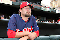 Memphis Redbirds pitcher Lance Lynn #56 before a game versus the Round Rock Express at Autozone Park on April 30, 2011 in Memphis, Tennessee.  Memphis defeated Round Rock by the score of 10-7.  Photo By Mike Janes/Four Seam Images