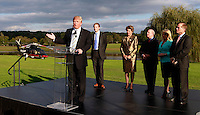 Oct. 04, 2011 - Charlottesville, VA. USA; Donald Trump, left, spoke during a press conference announcing the grand opening of Trump Vineyard Estates Tuesday in Charlottesville, Va. Trump purchased the foreclosed vineyard, previously owner by Patricia Kluge, at auction earlier this year. The 2,000 acre Trump Vineyard estate is also the home to Trump Winery, helmed by Donald's son Eric Trump. (Credit Image: © Andrew Shurtleff)