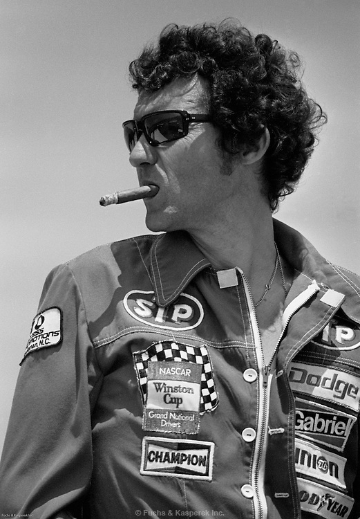 "Richard ""The King"" Petty watches qualifying at Talladega, Alabama in 1977."