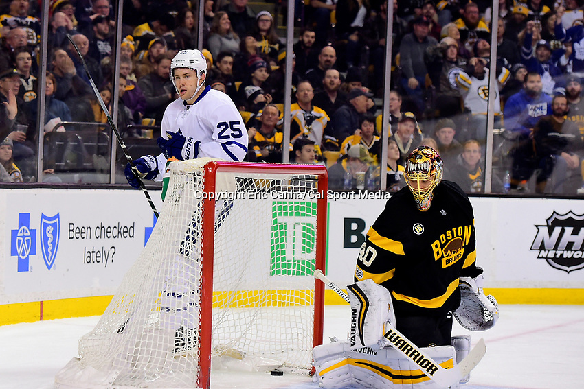 Saturday, February 4, 2017: Boston Bruins goalie Tuukka Rask (40) looks back at the puck that Toronto Maple Leafs left wing James van Riemsdyk (25) got into the net during the National Hockey League game between the Toronto Maple Leafs and the Boston Bruins held at TD Garden, in Boston, Mass. Eric Canha/CSM