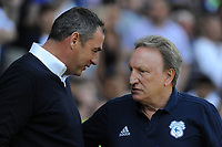 Cardiff City manager Neil Warnock chats to Reading manager Paul Clement, <br /> <br /> Photographer Ian Cook/CameraSport<br /> <br /> The EFL Sky Bet Championship - Cardiff City v Reading - Sunday 6th May 2018 - Cardiff City Stadium - Cardiff<br /> <br /> World Copyright &copy; 2018 CameraSport. All rights reserved. 43 Linden Ave. Countesthorpe. Leicester. England. LE8 5PG - Tel: +44 (0) 116 277 4147 - admin@camerasport.com - www.camerasport.com