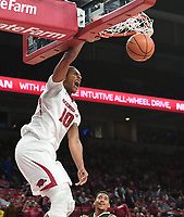 NWA Democrat-Gazette/J.T. WAMPLER Arkansas' Daniel Gafford dunks against Colorado State Tuesday Dec. 5, 2017 at Bud Walton Arena in Fayetteville. The Hogs won 92-66 and play again at home Saturday against Minnesota.