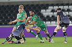 Connacht number 8 George Naoupu drives into Ospreys flanker Justin Tipuric.<br /> Guiness Pro12<br /> Ospreys v Connacht<br /> Liberty Stadium<br /> 31.10.14<br /> &copy;Steve Pope-SPORTINGWALES