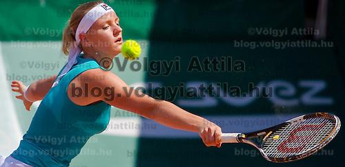 Agnes Szavay (HUN) plays during the Gaz de France Suez WTA tour Grand Prix international women tennis competition held at Roman Tennis Academy in Budapest, Hungary. Tuesday, 06. July 2010. ATTILA VOLGYI