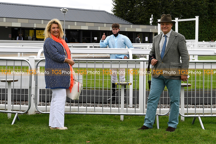 Lord and Lady Carnavon  owners of Bella Notte winner of The Draintech Tankers Nursery Stakes outside the Winners enclosure with jockey Mark Crehan during Horse Racing at Salisbury Racecourse on 11th September 2020