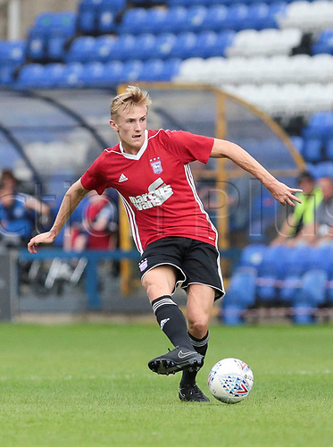July 18th 2017, Abax Stadium, Peterborough, England; Pre Season Football Friendly; Peterborough versus Ipswich Town; Flynn Downes in action for Peterborough United