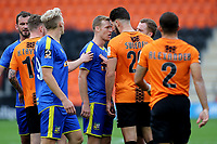 Kyle Storer of Solihull Moors and Barnet's Dan Sweeney have a disagreement in the second half during Barnet vs Solihull Moors, Vanarama National League Football at the Hive Stadium on 28th September 2019