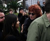 Fiorella Mannoia partecipa ai funerali  di  Pino Daniele al santuario del divino amore di Roma