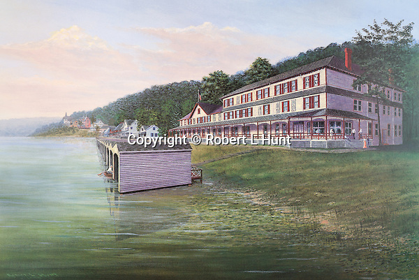 "The Clubhouse and boat houses at Lake Conemaugh's  South Fork Fishing and Hunting Club before the Johnstown Flood in 1889. Fine art limited edition lithographs available, 12.5"" x 19"", complete with Certificate of Authority."