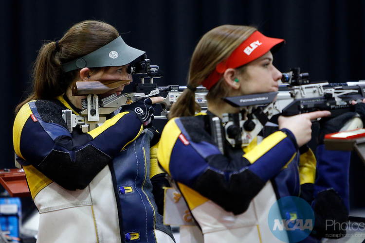 COLUMBUS, OH - MARCH 11:  Elizabeth Gratz, of West Virginia University, competes during the Division I Rifle Championships held at The French Field House on the Ohio State University campus on March 11, 2017 in Columbus, Ohio. Gratz finished fifth in the individual championship with a score of 144.3. (Photo by Jay LaPrete/NCAA Photos via Getty Images)