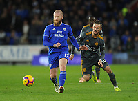 Cardiff City's Aron Gunnarsson under pressure from Leicester City's James Maddison<br /> <br /> Photographer Kevin Barnes/CameraSport<br /> <br /> The Premier League -  Cardiff City v Leicester City - Saturday 3rd November 2018 - Cardiff City Stadium - Cardiff<br /> <br /> World Copyright © 2018 CameraSport. All rights reserved. 43 Linden Ave. Countesthorpe. Leicester. England. LE8 5PG - Tel: +44 (0) 116 277 4147 - admin@camerasport.com - www.camerasport.com