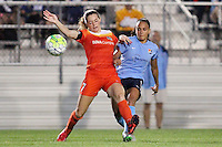 Piscataway, NJ - Saturday July 09, 2016: Kealia Ohai, Samantha Kerr during a regular season National Women's Soccer League (NWSL) match between Sky Blue FC and the Houston Dash at Yurcak Field.