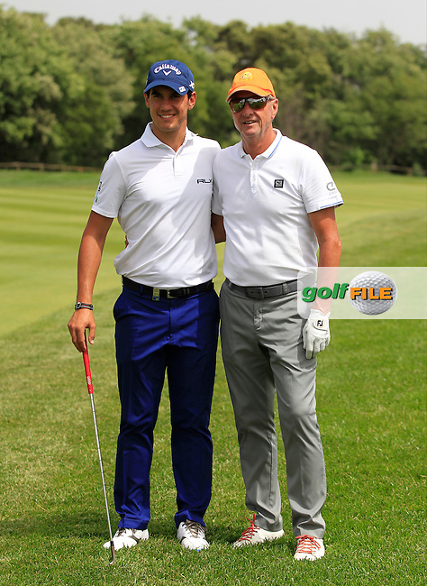Matteo Manassero (ITA) and Johann Cruyff (AM) on the 9th during the Pro-Am of the Open de Espana  in Club de Golf el Prat, Barcelona on Wednesday 13th May 2015.<br /> Picture:  Thos Caffrey / www.golffile.ie