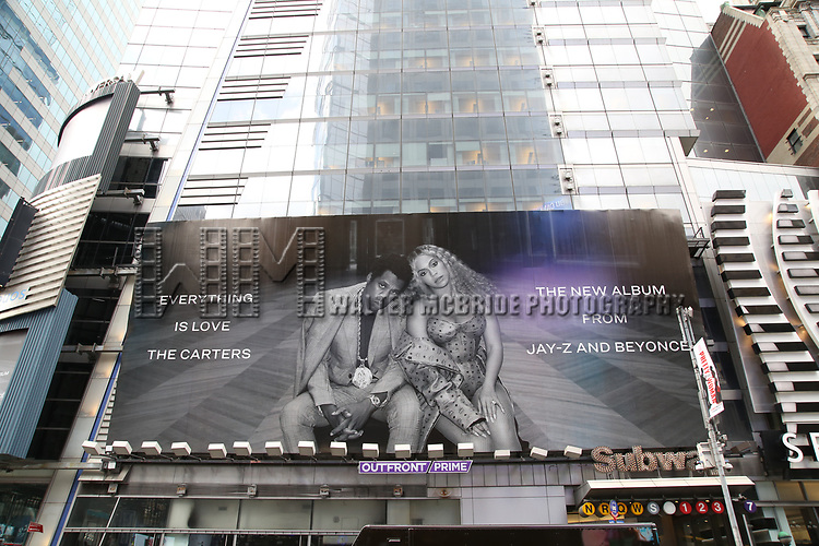 Times Square billboard promoting Beyonce and Jay Z aka The Carters with the release of their new surprise album, 'Everything Is Love', on August 3, 2018 in New York City.