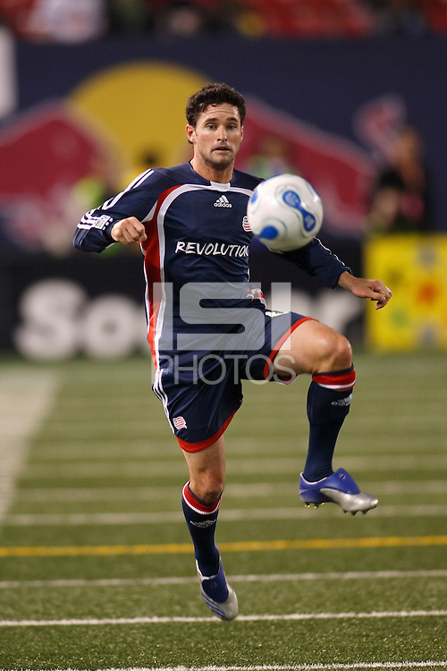 New England Revolution defender (6) Jay Heaps. The New York Red Bulls and the New England Revolution played to a 0-0 tie during first leg of the MLS Eastern Conference Semifinal Series at Giants Stadium in East Rutherford, NJ, on October 27, 2007.