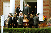 """Arlington, VA - October 21, 2002 -- Pallbearers carry the casket containing the body of Linda Franklin from Mount Olivet United Methodist Church, in Arlington, VA on 21 October, 2002.  Ms. Franklin was shot and killed by the """"Beltway Sniper"""" last Monday as she shopped at the Home Depot in the Seven Corners Shopping Center.<br /> Credit: Ron Sachs / CNP<br /> (RESTRICTION: NO New York or New Jersey Newspapers or newspapers within a 75 mile radius of New York City)"""