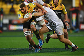 9th June 2017, Westpac Stadium, Wellington, New Zealand; Super Rugby; Hurricanes versus Chiefs;  Hurricanes' Callum Gibbins (L) is tackled by Chiefs' Nathan Harris
