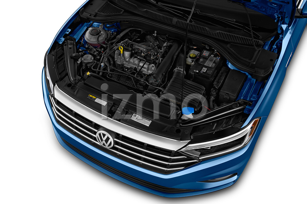Car stock 2019 Volkswagen Jetta SEL Premium 4 Door Sedan engine high angle detail view