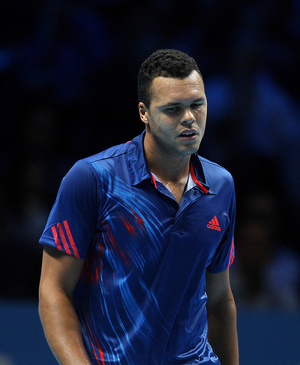 Jo-Wilfried Tsonga (FRA) in action today during his defeat by Noval Djokovic (SRB) in their Group A match -N Djokovic (SRB) def Jo-Wilfried Tsonga (FRA) 7-6(4) 6-3..International Tennis - Barclays ATP World Tour Finals - O2 Arena - London - Day 1 Monday 5th November 2012..