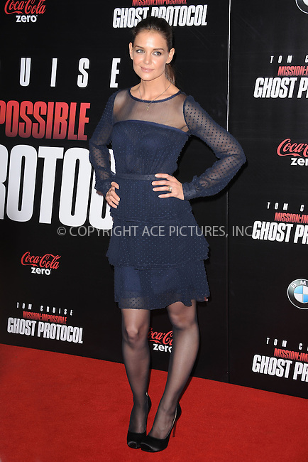 WWW.ACEPIXS.COM . . . . . December 19, 2011...New York City....Katie Holmes attends the 'Mission: Impossible - Ghost Protocol' U.S. premiere at the Ziegfeld Theatre on December 19, 2011 in New York City....Please byline: KRISTIN CALLAHAN - ACEPIXS.COM.. . . . . . ..Ace Pictures, Inc: ..tel: (212) 243 8787 or (646) 769 0430..e-mail: info@acepixs.com..web: http://www.acepixs.com .