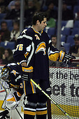 February 17th 2007:  Andrew Peters (76) of the Buffalo Sabres fixes the net during warm-ups before a game vs. the Boston Bruins at HSBC Arena in Buffalo, NY.  The Bruins defeated the Sabres 4-3 in a shootout.