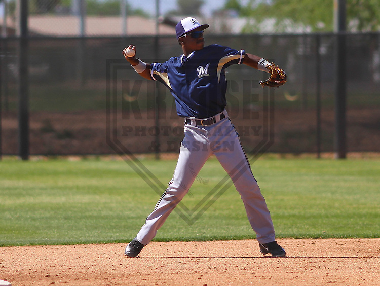 MARYVALE - March 2015: Franly Mallen of the Milwaukee Brewers during a spring training game against the Langley Blaze on March 24th, 2015 at Maryvale Baseball Park in Maryvale, Arizona. (Photo Credit: Brad Krause)
