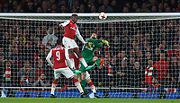 Goalkeeper Jan Oblak of Atletico Madrid makes a save from Danny Welbeck of Arsenal during the UEFA Europa League Semi Final 1st leg match between Arsenal and Atletico Madrid at the Emirates Stadium, London, England on 26 April 2018. Photo by Andy Aleksiejczuk / PRiME Media Images