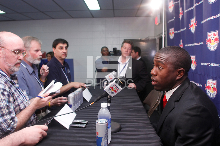 New York Red Bulls Jozy Altidore addresses the media during a press conference announcing New York Red Bulls forward Jozy Altidore being transfered to Villarreal CF of the Spanish La Liga at Giants Stadium in East Rutherford, NJ, on June 5, 2008.