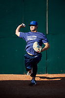 Pensacola Blue Wahoos pitcher Tyler Mahle (31) warms up in the bullpen before a game against the Mobile BayBears on April 25, 2017 at Hank Aaron Stadium in Mobile, Alabama.  Mobile defeated Pensacola 3-0.  (Mike Janes/Four Seam Images)