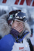 Sunday, February 25th, Willow, Alaska.  Jr. Iditarod musher Rohn Buser at the finish line after winning the 2007 Junior Iditarod