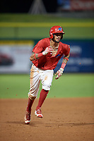 Clearwater Threshers right fielder Jose Pujols (23) running the bases during a game against the Florida Fire Frogs on June 1, 2018 at Spectrum Field in Clearwater, Florida.  Florida defeated Clearwater 12-10.  (Mike Janes/Four Seam Images)